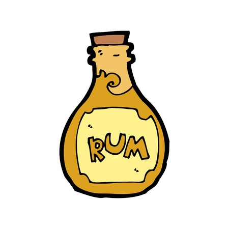 pirate rum bottle cartoon Vector