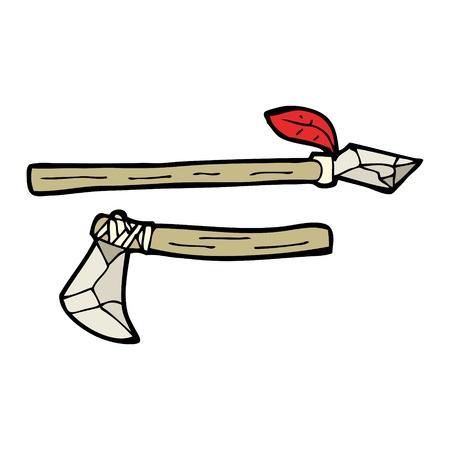 edad de piedra: dibujos animados armas de piedra de edad