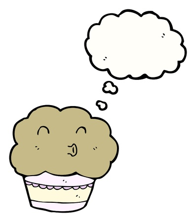 cartoon cupcake with speech bubble Vector