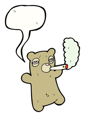 cartoon smoking bear with emotion bubble Vector