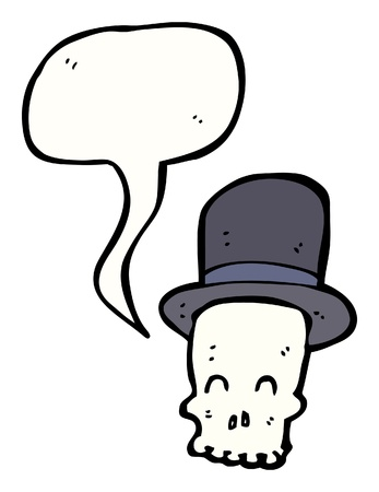 tophat: cartoon skull wearing a tophat with speech bubble