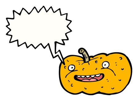 hallow: cartoon pumpkin with speech bubble Illustration
