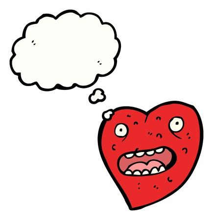 hartje cartoon: cartoon hart met tekstballon Stock Illustratie