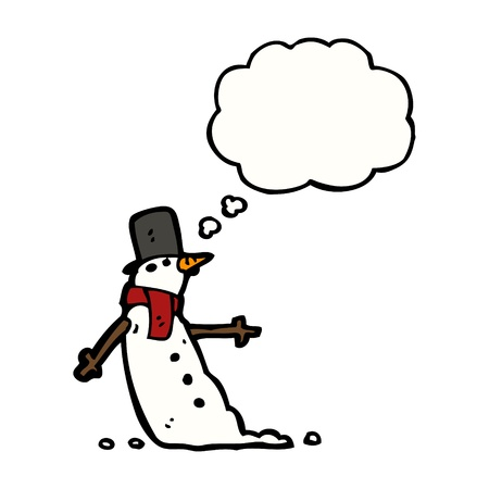 cartoon snowman with speech bubble Stock Vector - 16242264