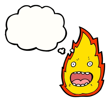 cartoon fire: cartoon fire with speech bubble  Illustration