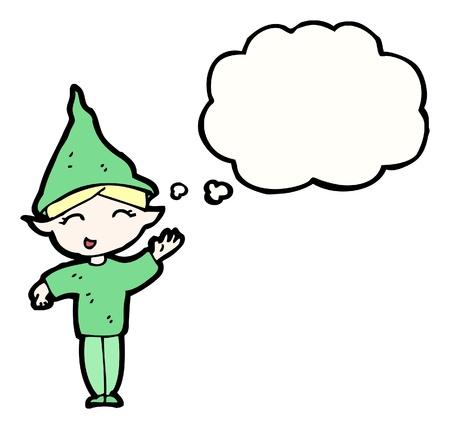 cartoon elfe: Cartoon Elf mit Sprechblase Illustration