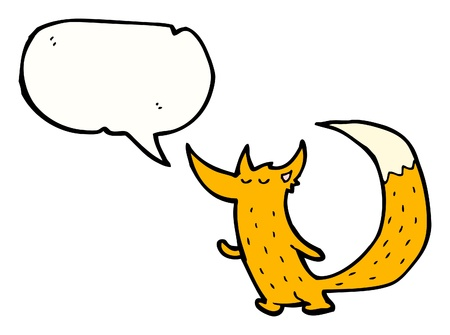 cartoon fox with speech bubble  Ilustrace