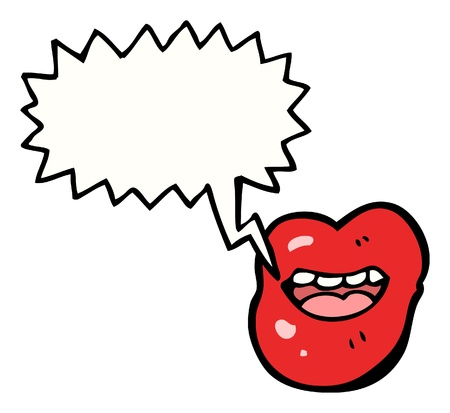 cartoon lip with speech bubble Vector