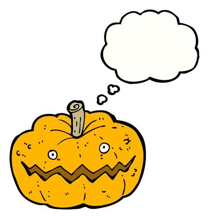 calabaza caricatura: Caricatura de calabaza con bocadillo