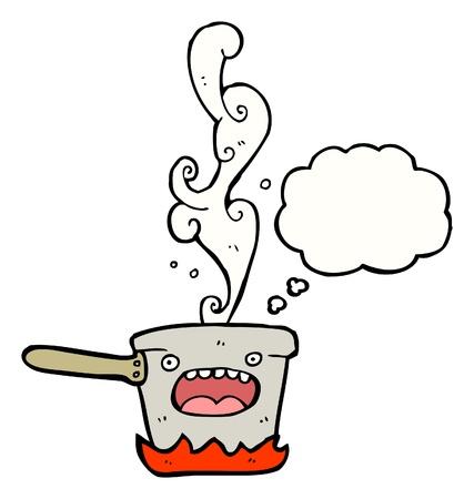 cartoon pot with speech bubble Vector