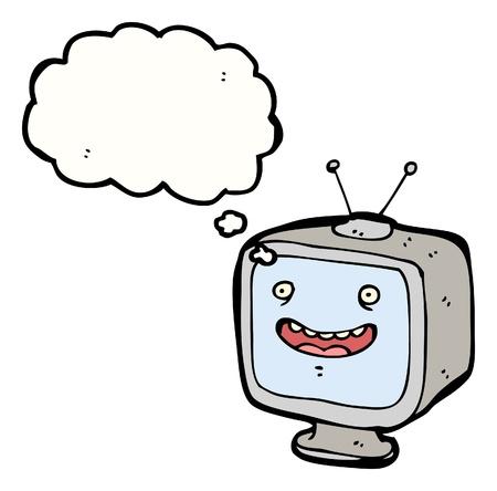 talkative: cartoon television with speech bubble