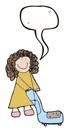 bijschrift: cartoon meisje met bijschrift box