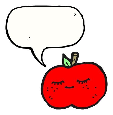 caption: cartoon apple with caption box  Illustration