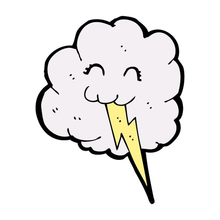 cute cartoon cloud with thunder sign  Vector