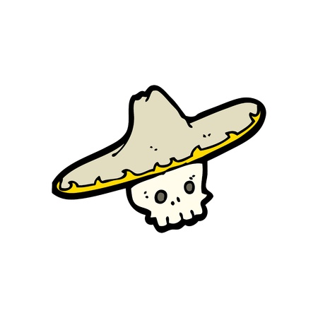 cartoon of a skull with a mariachi hat