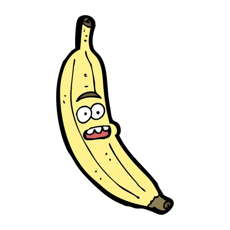cartoon banana with face expression  Illustration