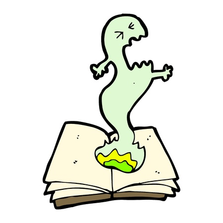 cartoon monster on book