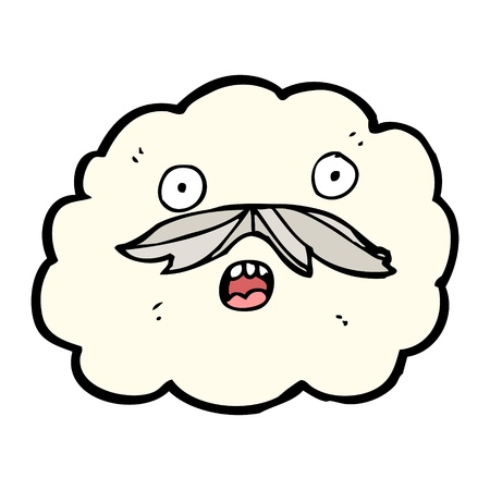 could: cartoon cloud with a moustache