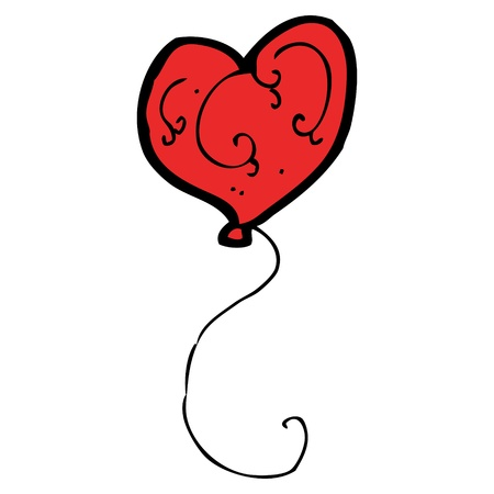 cartoon heart shaped balloon Illustration