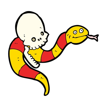 cartoon of a skull with snake Stock Vector - 16132234