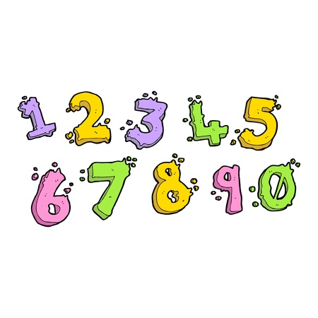 cartoon collage of numeric numbers