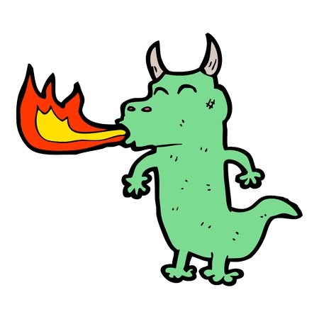 spitting: cartoon dragon spitting fire Illustration