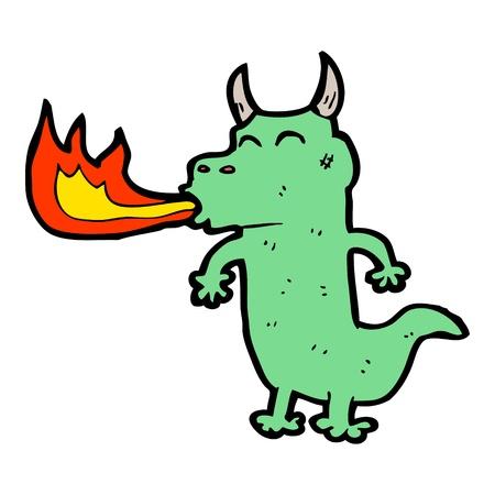 spitting: cartoon dragon spitting fire Illustration