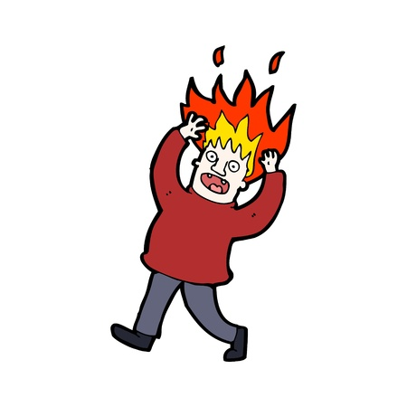 crazy cute: cartoon character of a man with hair on fire