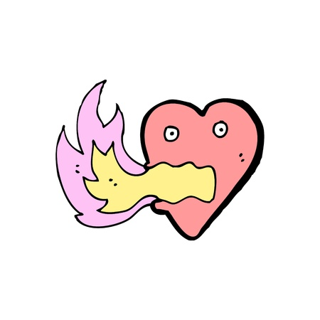 cartoon heart with flames Stock Vector - 16123562