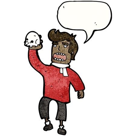 shakespearean: Retro cartoon with texture. Isolated on White.