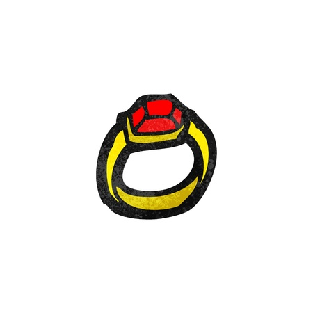 ring ruby: Retro cartoon with texture. Isolated on White.