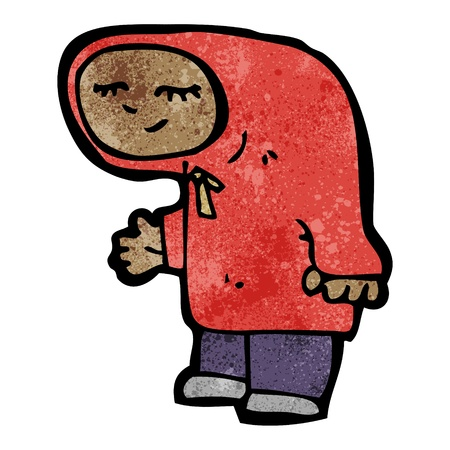 hooded: Retro cartoon with texture. Isolated on White.