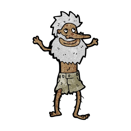 hermit: Retro cartoon with texture. Isolated on White.