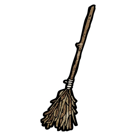 besom: Retro cartoon with texture. Isolated on White.