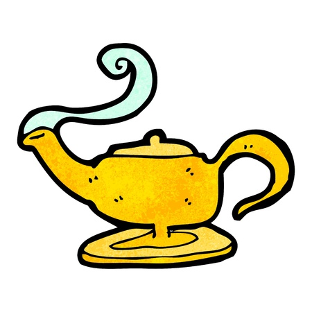 magic lamp: Retro cartoon with texture. Isolated on White.