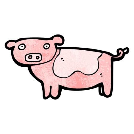 cerdo caricatura: De dibujos animados retro con textura. Aislado en blanco.
