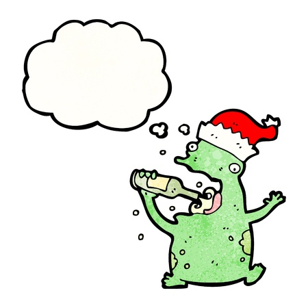 christmas frog: Retro cartoon with texture. Isolated on White.