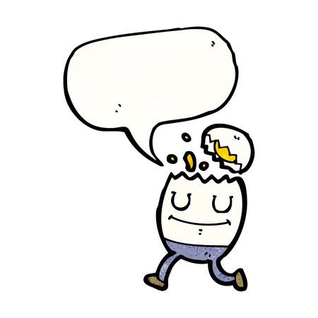 humpty dumpty: Retro cartoon with texture. Isolated on White.