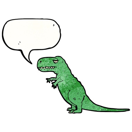 tyranosaurus: Retro cartoon with texture. Isolated on White.
