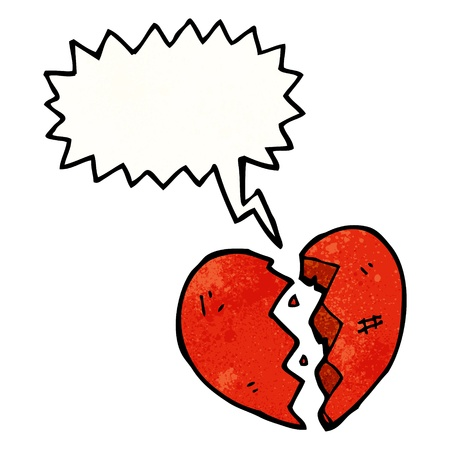 heart clipart: Retro cartoon with texture. Isolated on White.