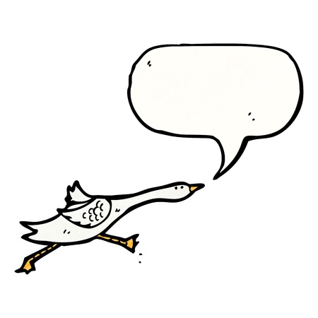 goose: Retro cartoon with texture. Isolated on White.