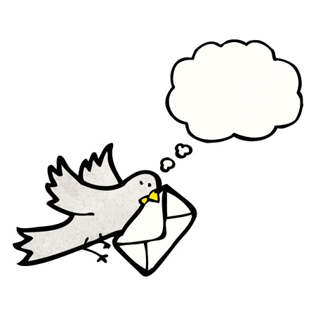 carrier pigeons: Retro cartoon with texture. Isolated on White.