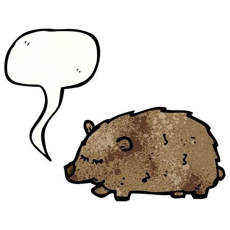 wombat: De dibujos animados retro con textura. Aislado en blanco.