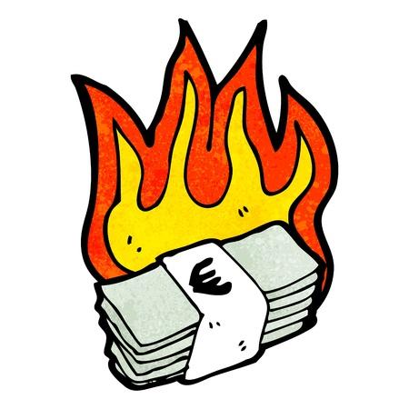 burning money: Retro cartoon with texture. Isolated on White.