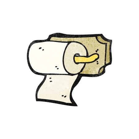 toilet paper art: Retro cartoon with texture. Isolated on White.