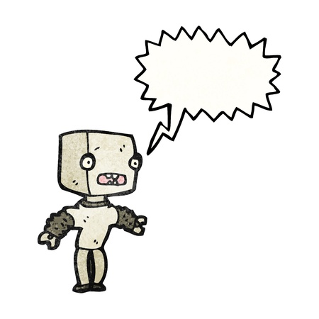talking robot: Retro cartoon with texture. Isolated on White.