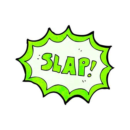 slap: Retro cartoon with texture. Isolated on White.
