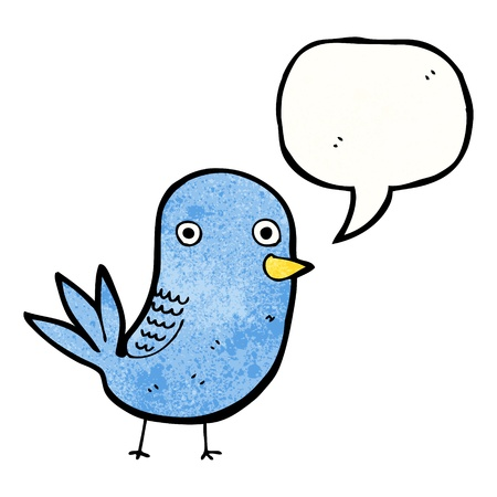 tweeting: Retro cartoon with texture. Isolated on White.
