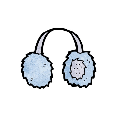 ear muffs: Retro cartoon with texture. Isolated on White.
