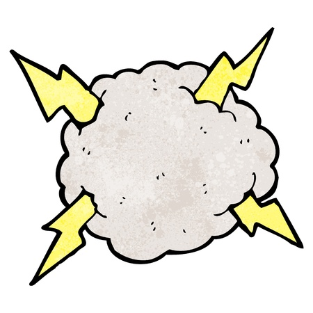 stormcloud: Retro cartoon with texture. Isolated on White.